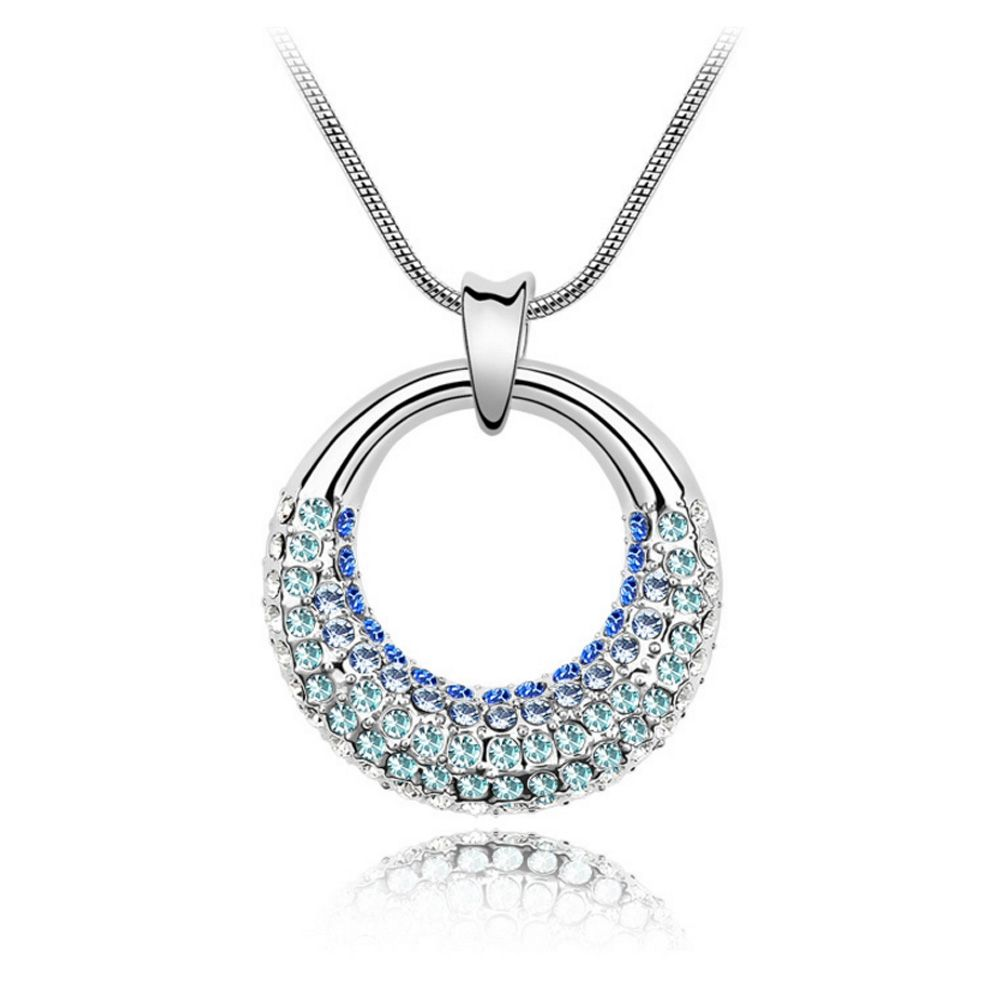 Swarovski - White Gold Plated Pendant made with a Blue Crystal from Swarovski