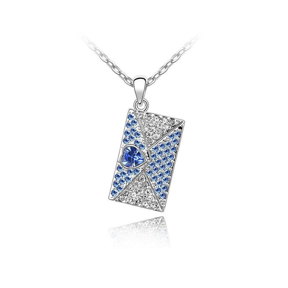 Swarovski - Love Letter Pendant made with a Blue Crystal from Swarovski