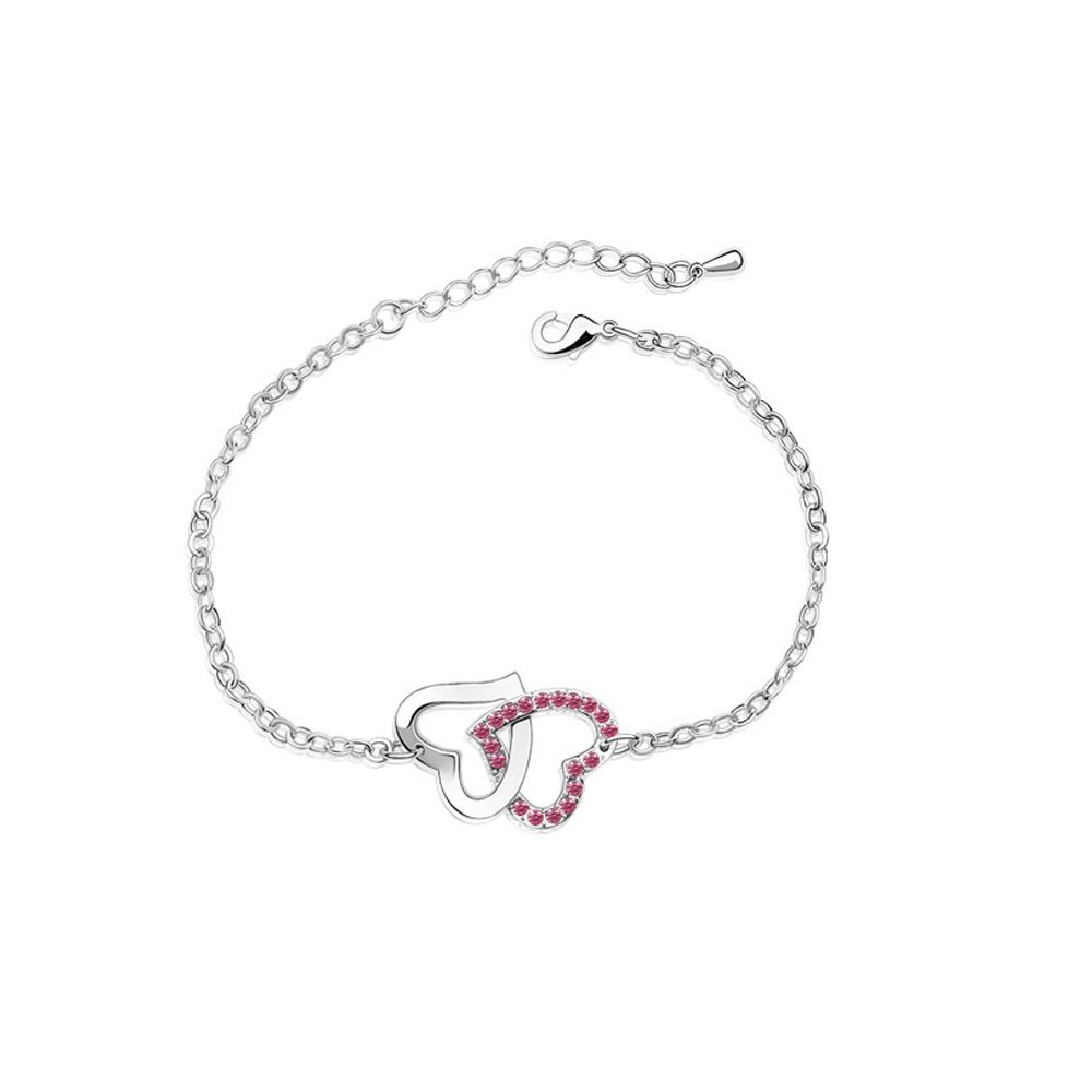 Swarovski - Double Heart Bracelet made with a Pink Crystal from Swarovski