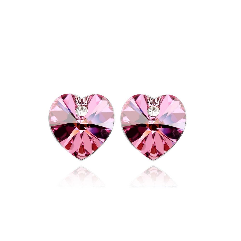 Swarovski - Heart Earrings made with a Pink Crystal from Swarovski
