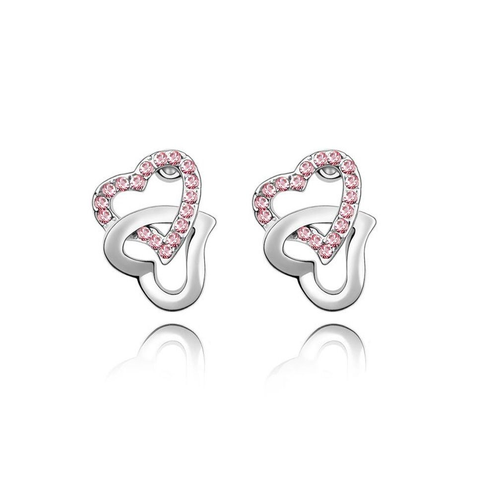 Swarovski - Double Hearts Earrings made with a pink crystal from Swarovski