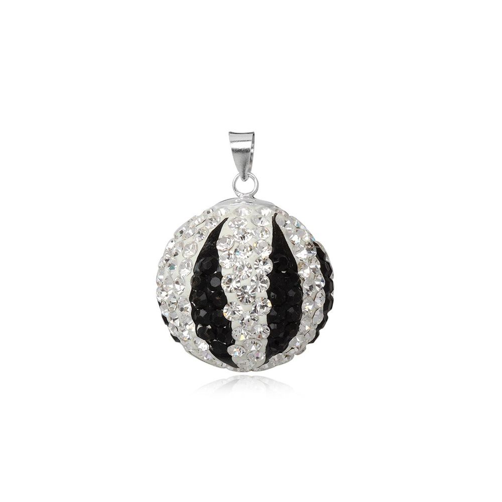 Black and White Crystal Bead Pendant and 925 Silver