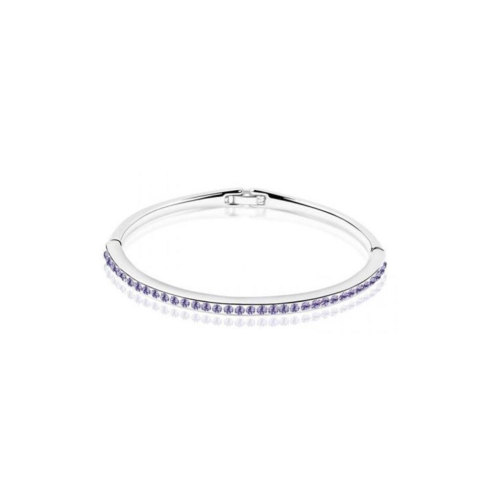 Swarovski - Children Bangle Bracelet made with a Purple Crystal from Swarovski and White Gold Plated