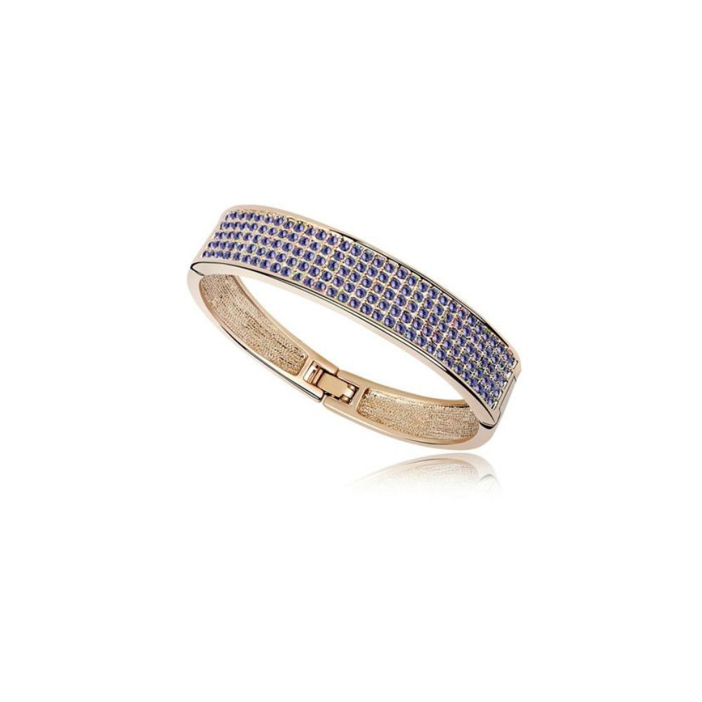 Swarovski - Bangle Bracelet made with a Purple Crystal from Swarovski and Yellow Gold plated