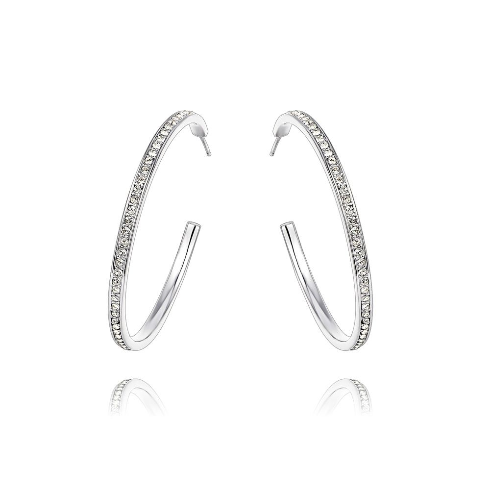 Swarovski - White Swarovski Crystal Elements Hoop Earrings