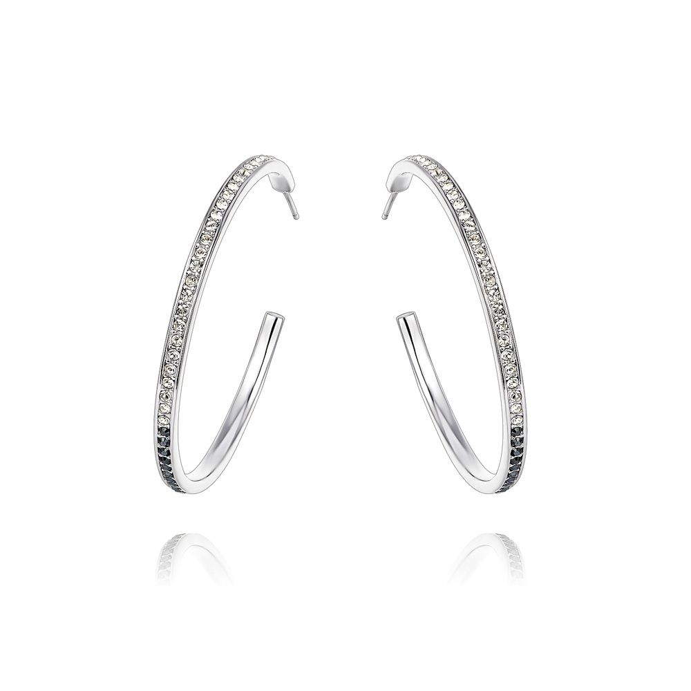 Swarovski - White and Black Swarovski Crystal Elements Hoop Earrings