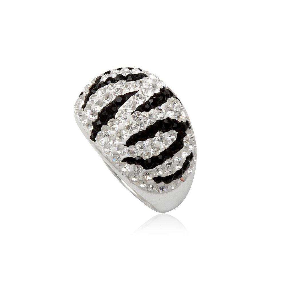 White and Black Crystal Zebra Ring and 925 Silver