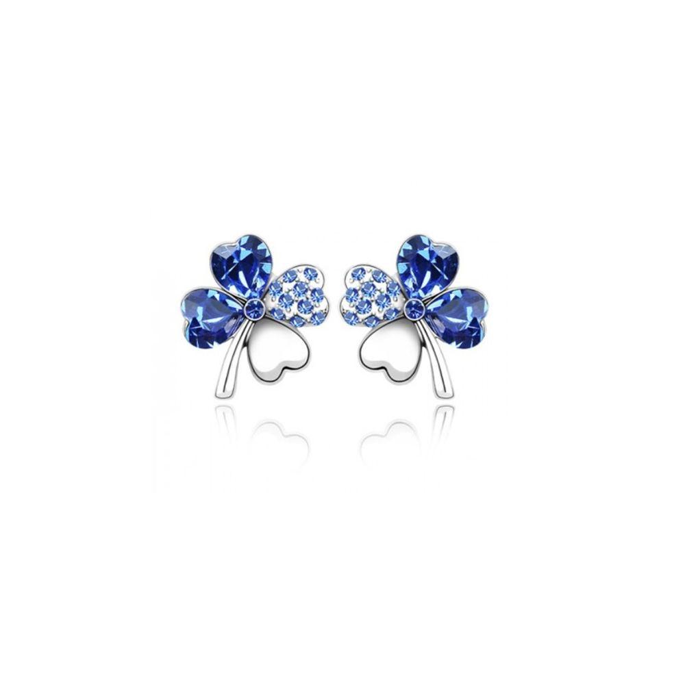 Swarovski - Clover Earrings made with Blue Swarovski Crystal Element