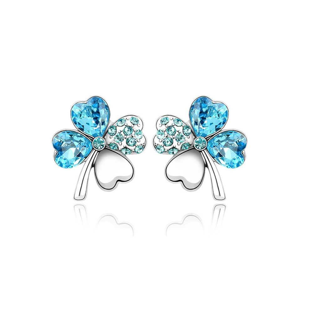 Swarovski - Clover Earrings made with Clear Blue Swarovski Crystal Element