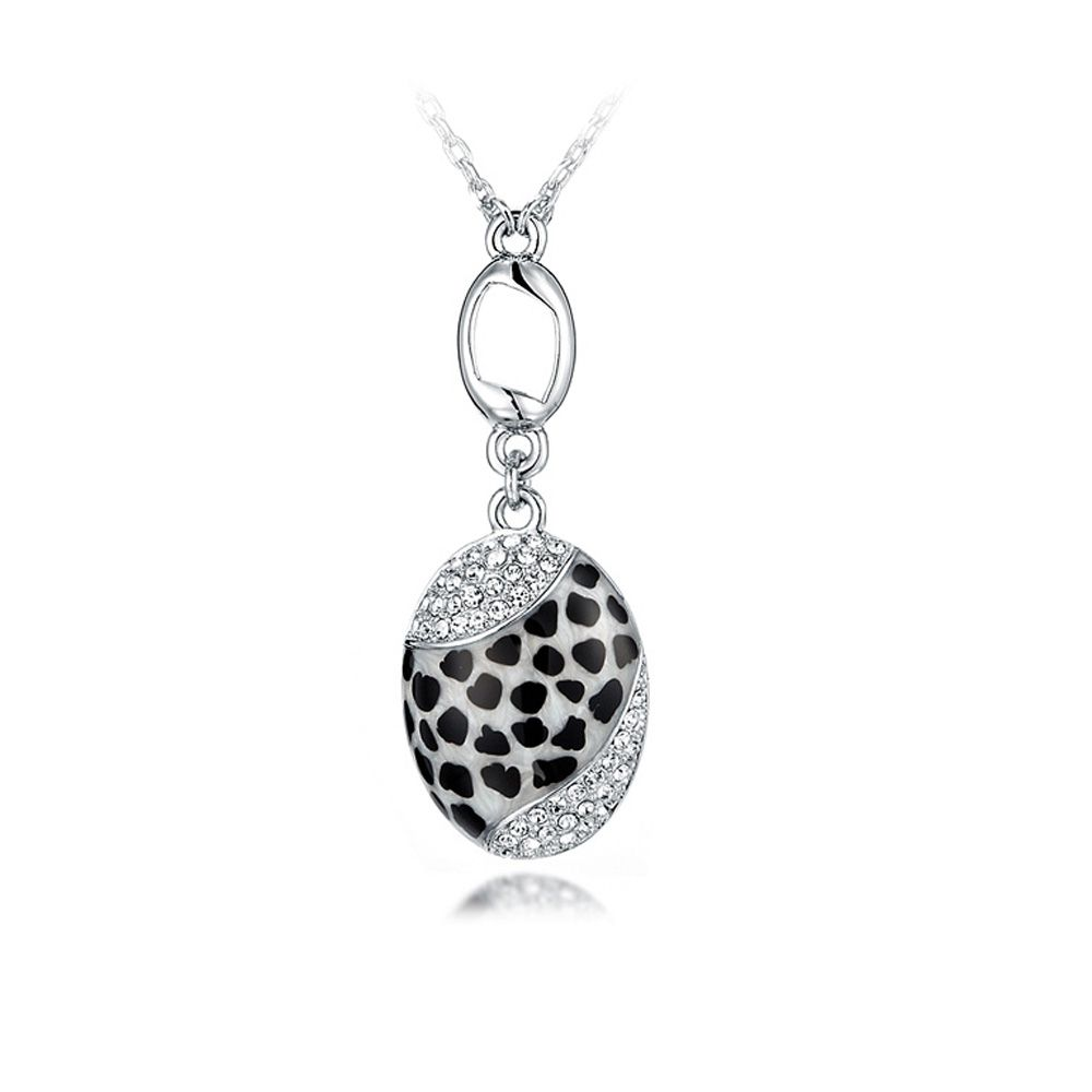 Swarovski - Leopard Abalone Pendant and white Swarovski Crystal Elements