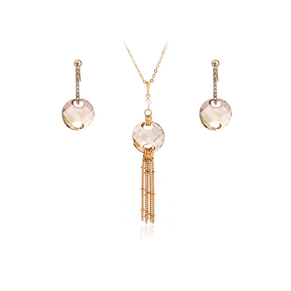 Swarovski - Golden Swarovski Crystal Elements Necklace and Earrings Set