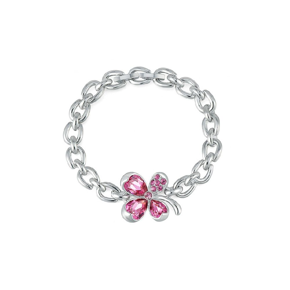 Swarovski - Pink Swarovski Crystal Elements Clover Bracelet