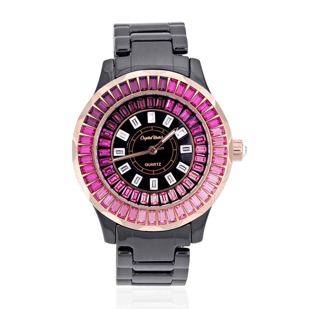 Swarovski - Black Ceramic and Pink Swarovski Crystal Elements Watch