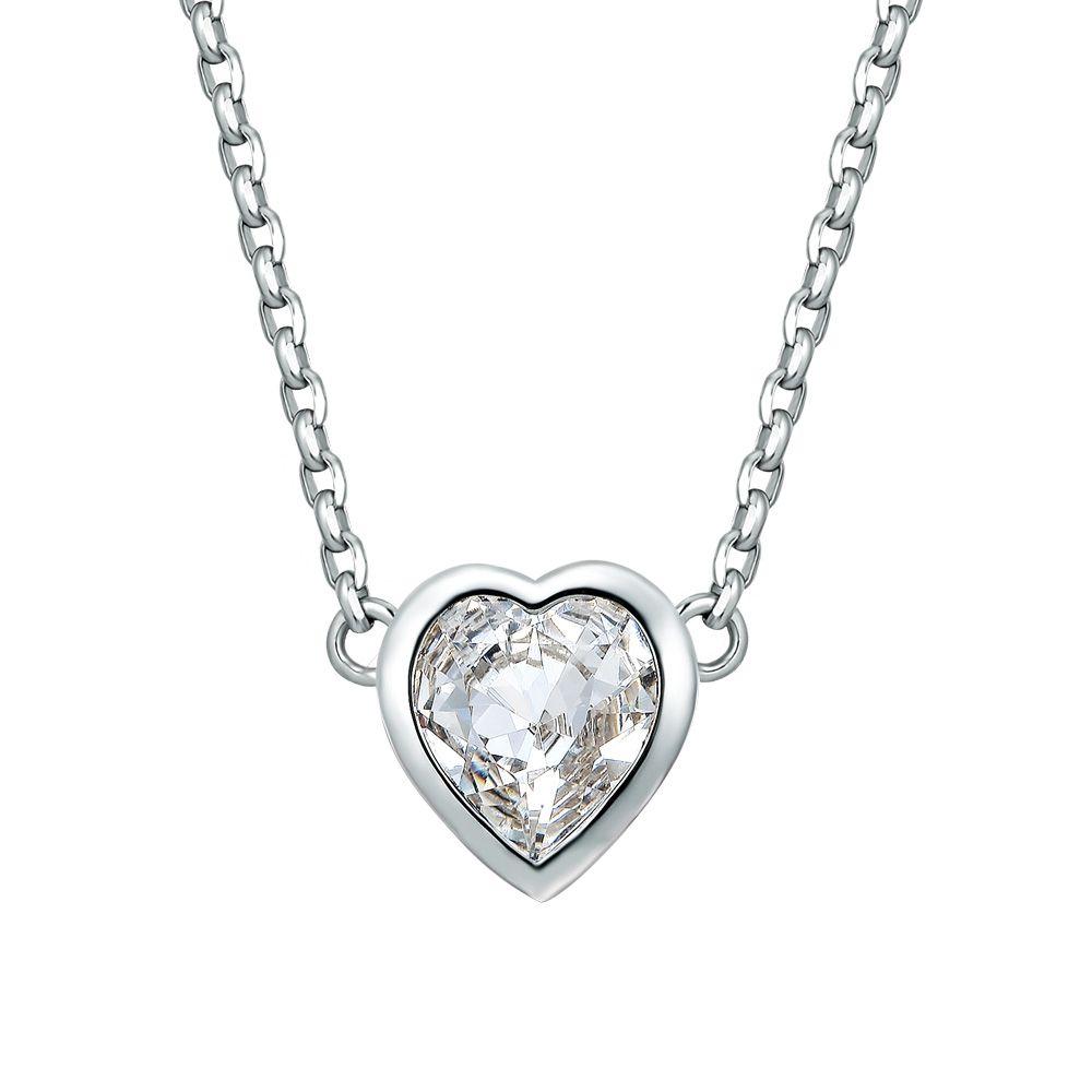 Swarovski - White Swarovski Crystal Elements and Rhodium Plated Heart Necklace