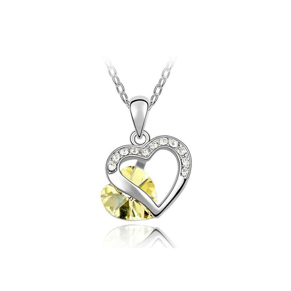 Swarovski - Heart Pendant mades with Yellow Swarovski Crystal Element