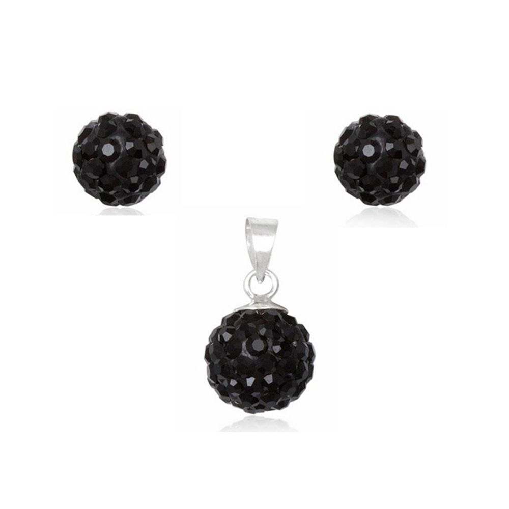 Black Crystal Pendant and Earrings Set and 925 Silver