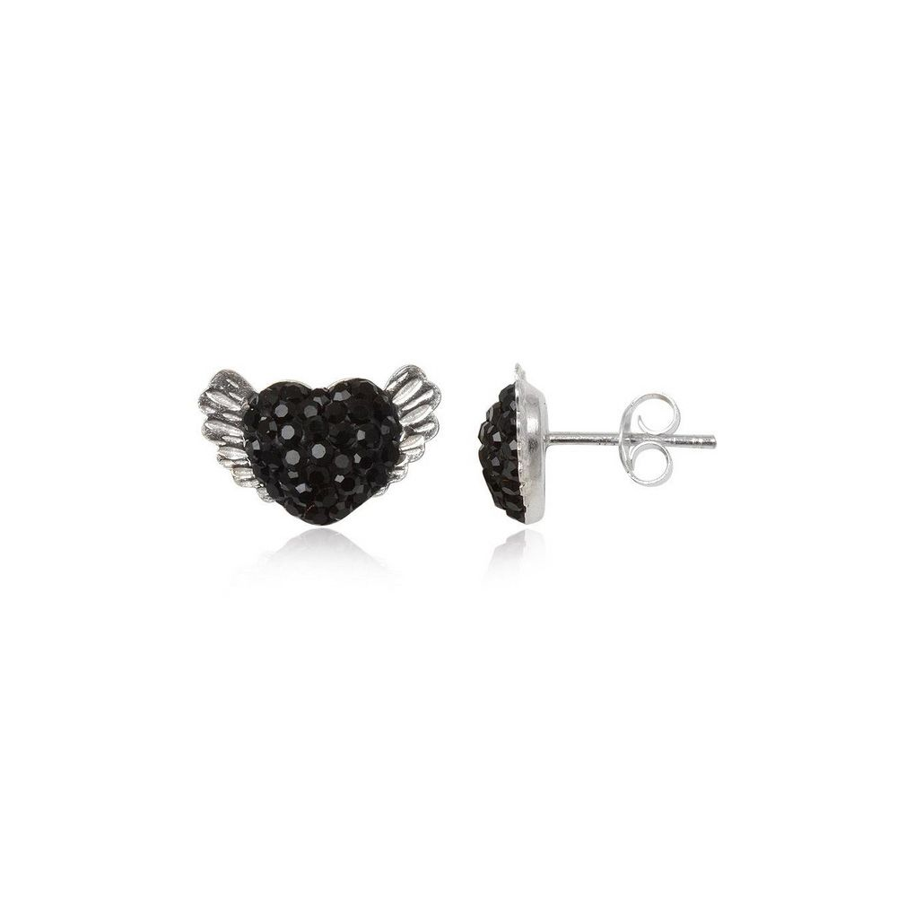 Black Crystal Wing Heart Earrings and 925 Silver