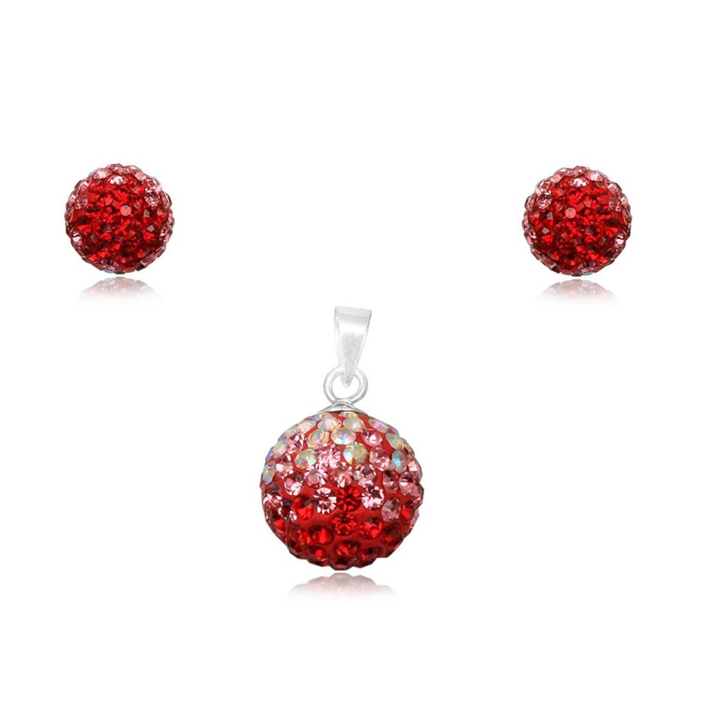 Red Crystal Pendant and Earrings Set and 925 Silver