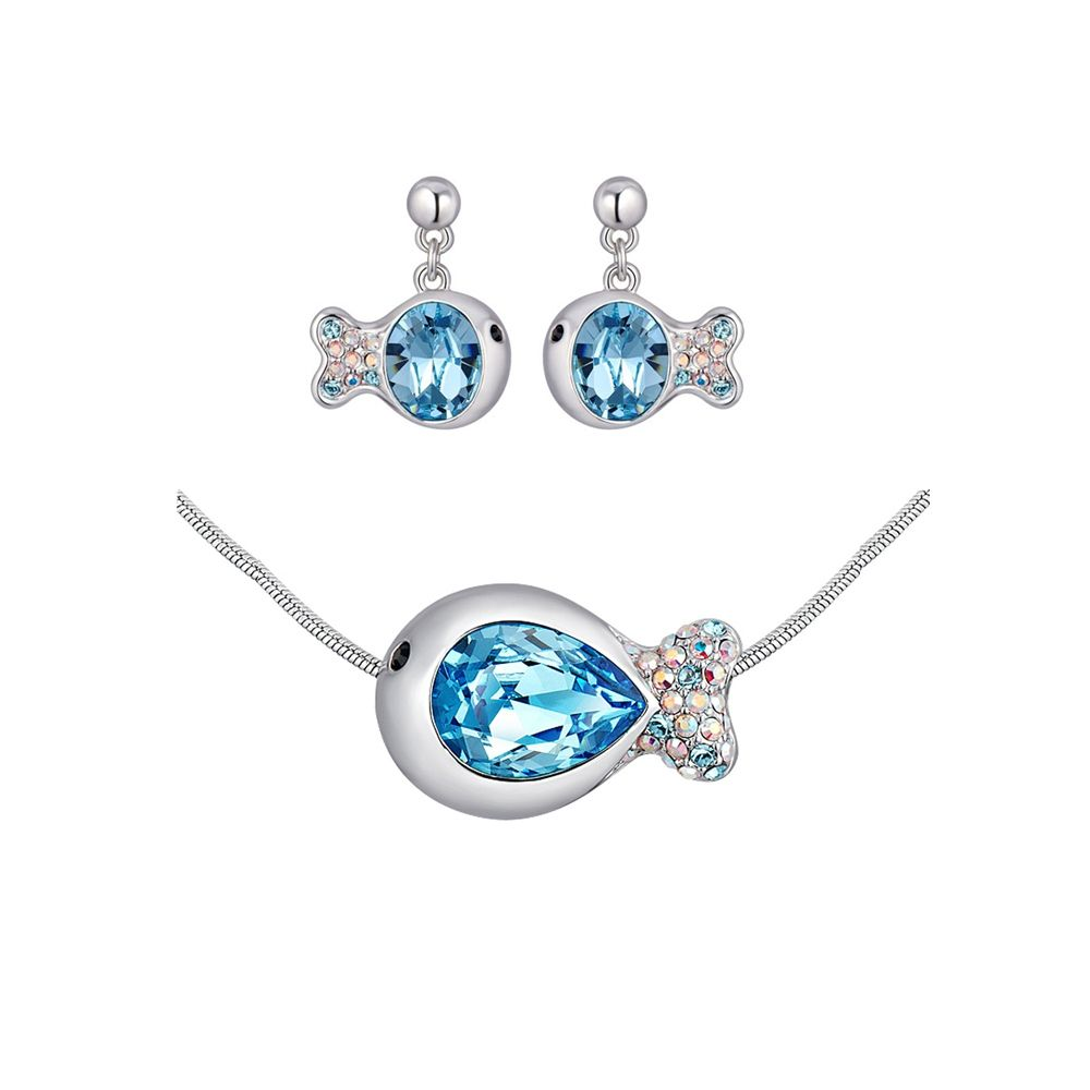 Swarovski - Blue Swarovski Crystal Elements Fish Necklace and Earrings Set