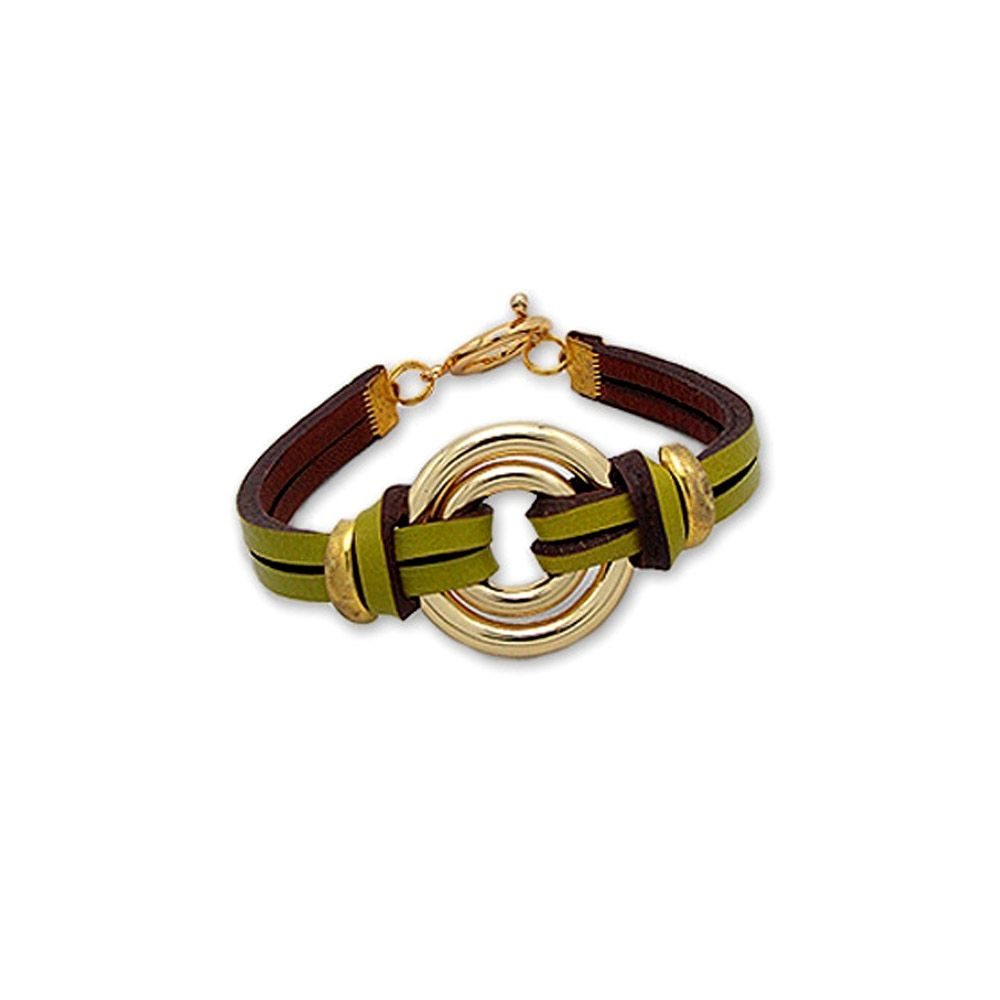 Gold Double Circle Bracelet and Green Leather