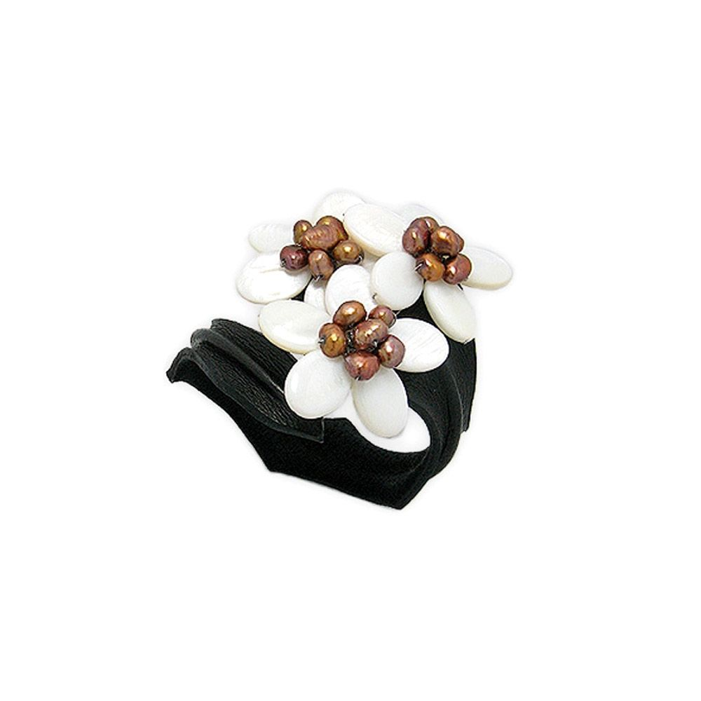 White Pearls Flowers and Black Leather Bracelet