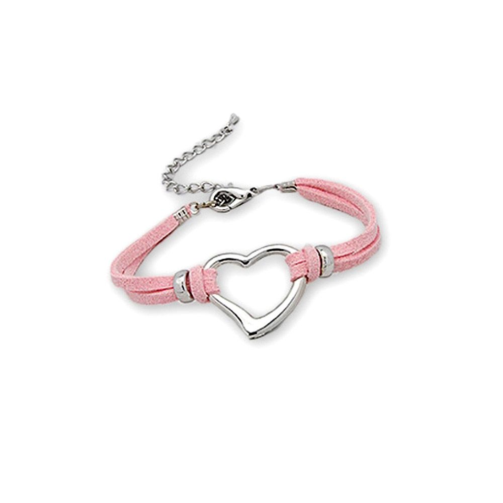 Pink Heart Suedin Bracelet and Rhodium plated