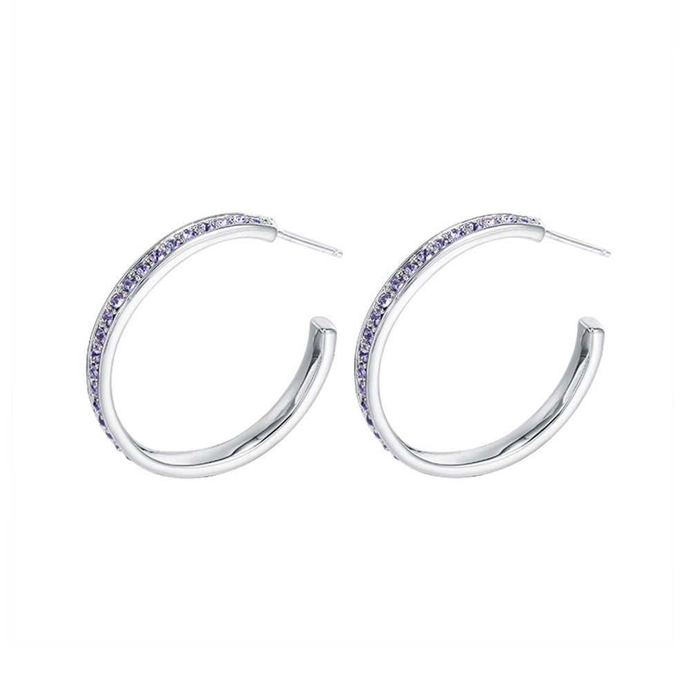 Swarovski - Purple Swarovski Crystal Elements Hoop Earrings
