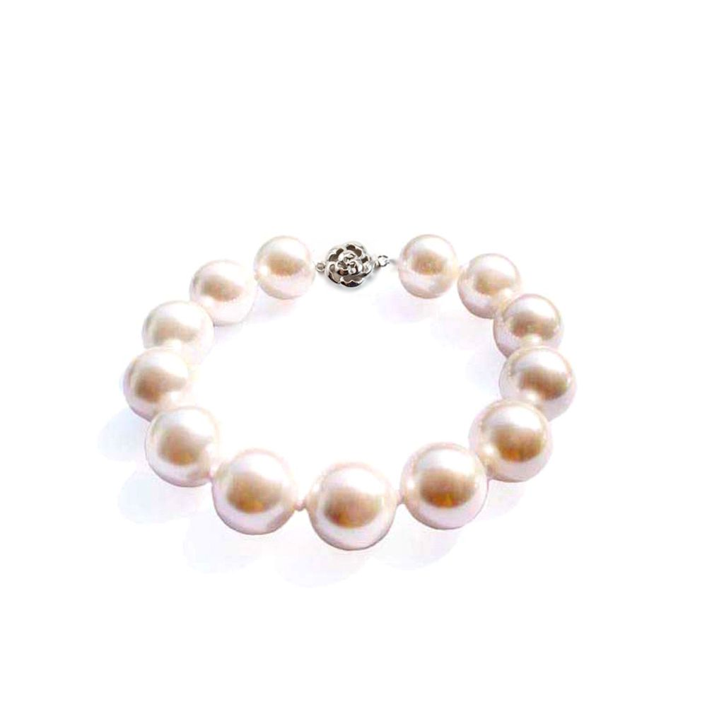 12 mm White imitation pearls in reconstituted mother-of-pearl Bracelet