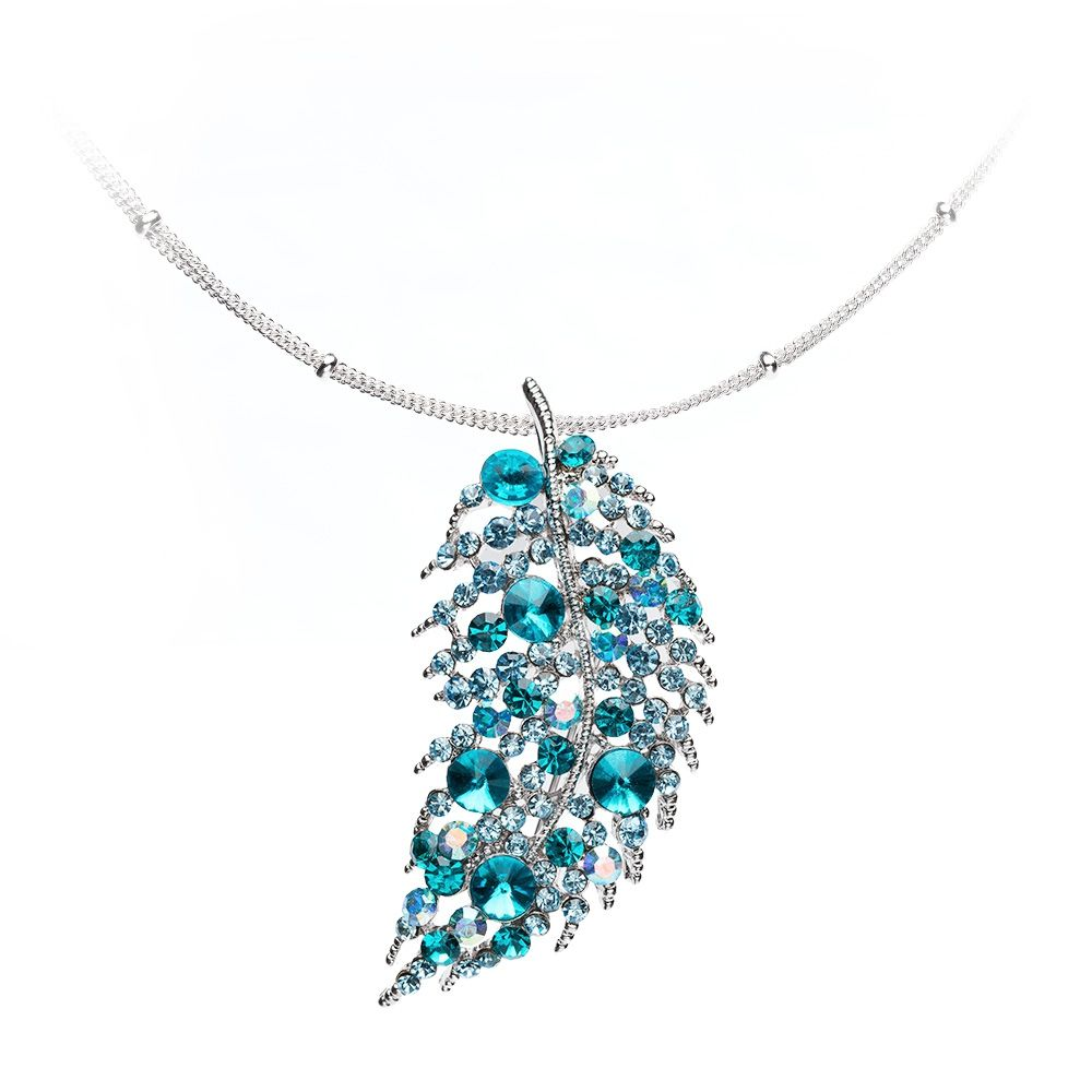Swarovski - Turquoise Swarovski Crystal Elements Leaf Necklace and Silver Plated Mounting