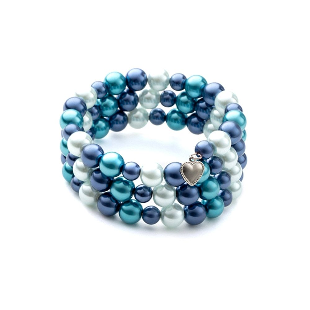 Blue Pearls and Rhodium Plated 3 Rows Bracelet