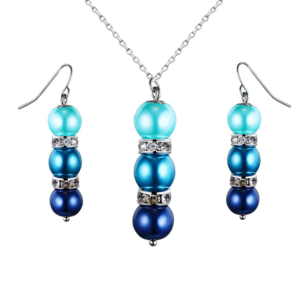 Turquoise Pearls, Crystal Pendant and Earrings Set
