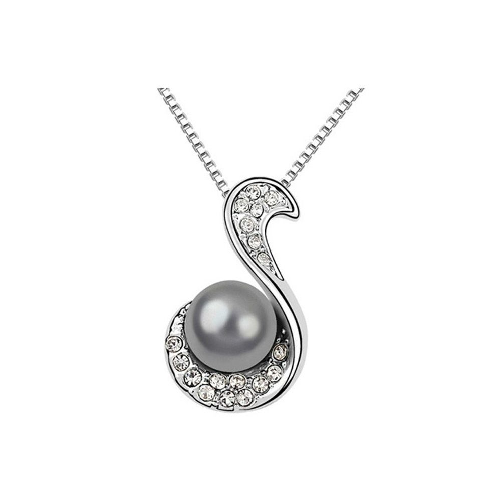 Black Pearl and White Crystal Pendant