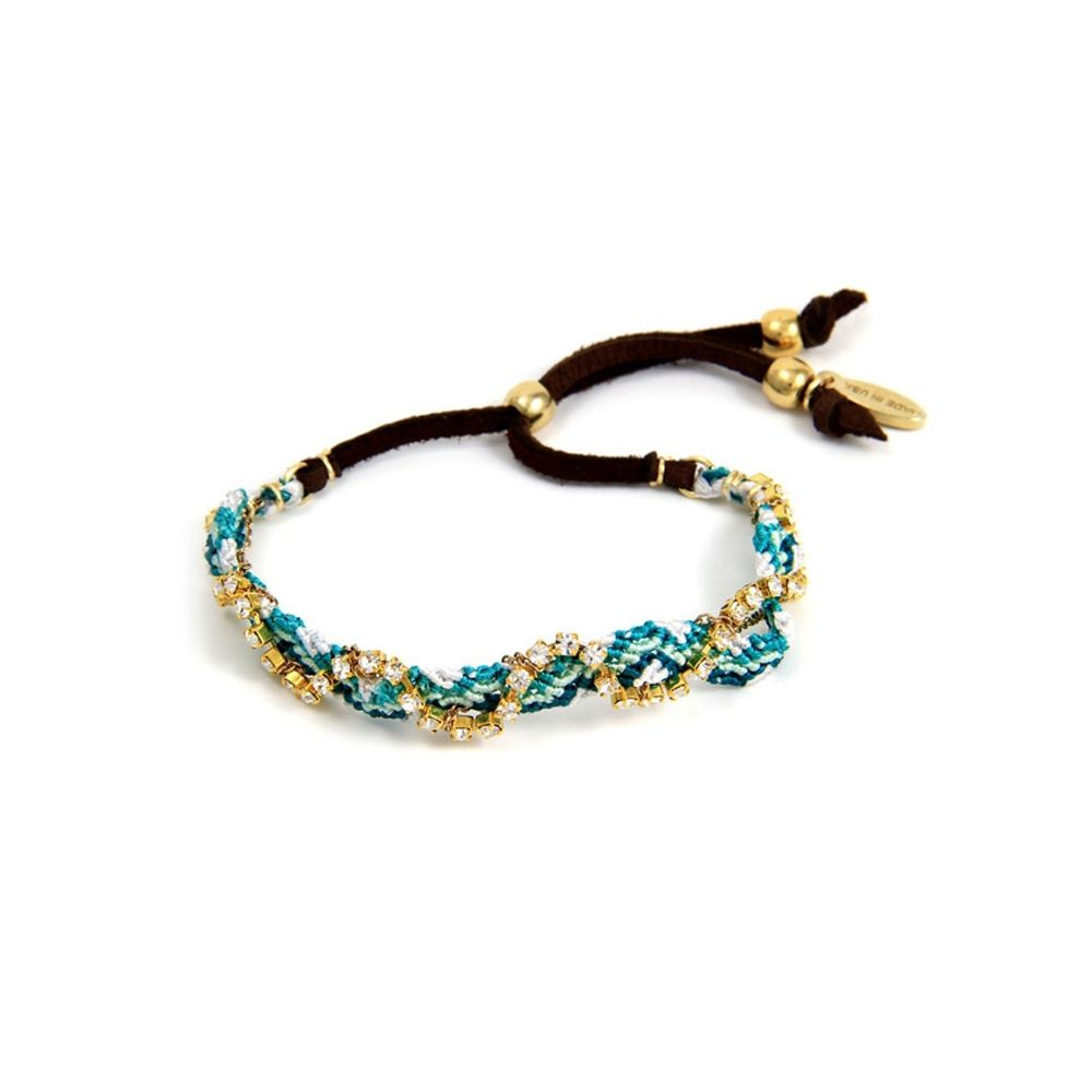 Ettika - Blue Braided Cotton and White Crystal Friendship Bracelet