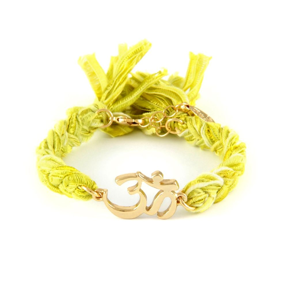 Ettika - Yellow Ribbons and Yellow Gold Om Bracelet