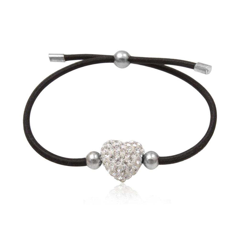 White Crystal Heart, 925 Silver and Black Stretchy Bracelet