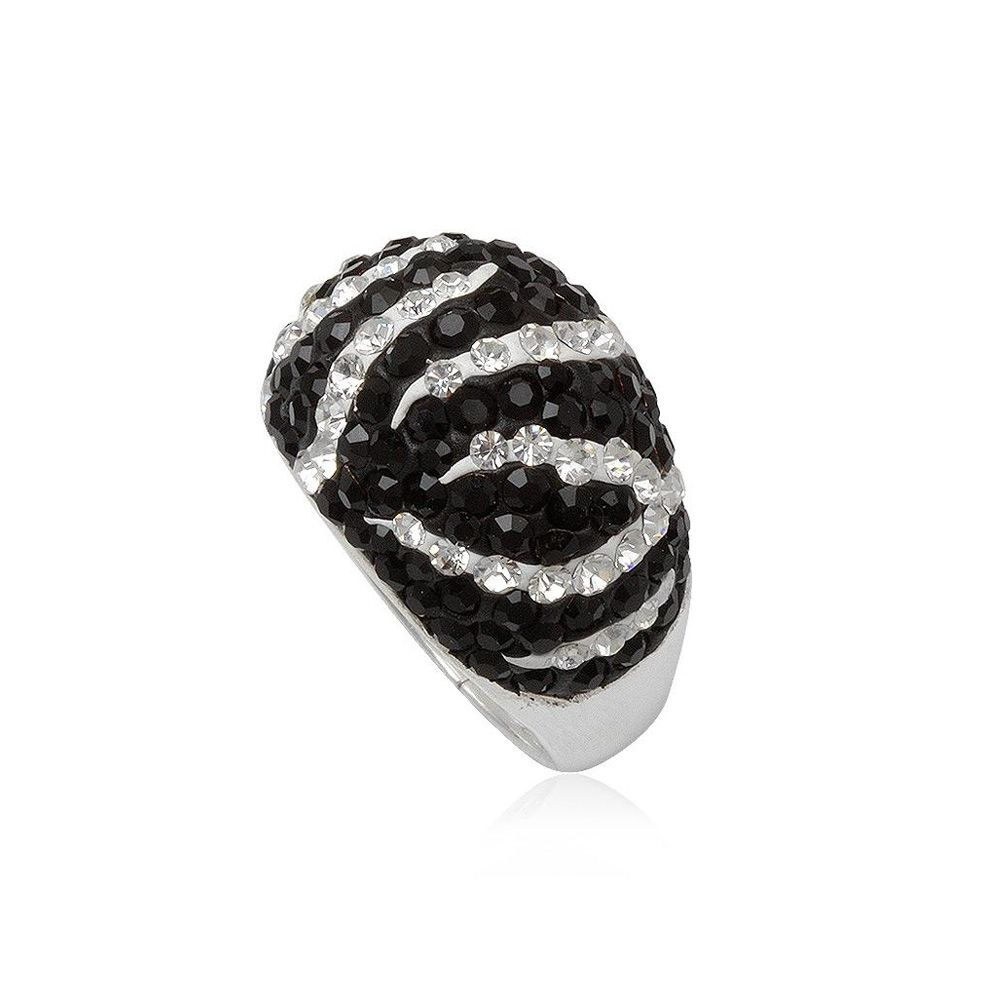Black and White Crystal Zebra Ring and 925 Silver