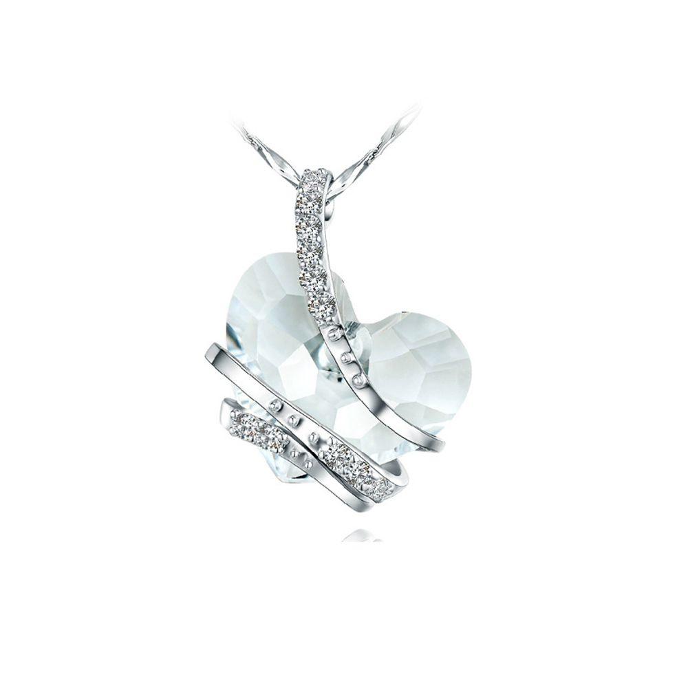 Swarovski - White Swarovski Crystal Elements and Rhodium Plated Heart Pendant