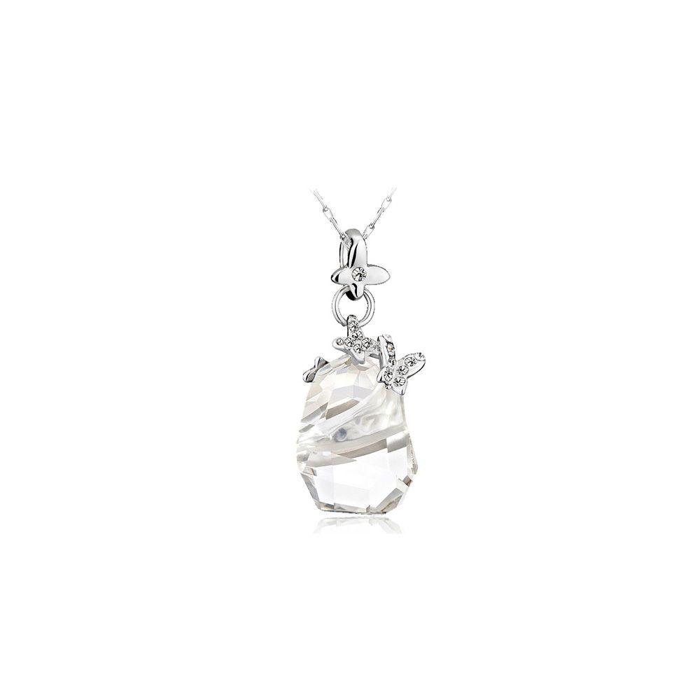 Swarovski - White Swarovski Crystal Elements and Rhodium Plated Butterfly Pendant