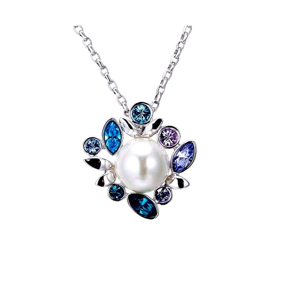 Swarovski - White Pearl and Blue Purple Swarovski Crystal Elements Pendant