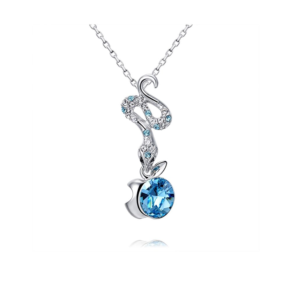 Swarovski - Blue Swarovski Crystal Elements Eden Snake Pendant and Rhodium Plated