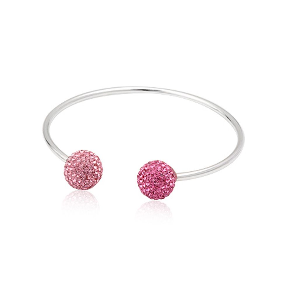 Pink Crystal Pearls and 925 Silver Bangle Bracelet