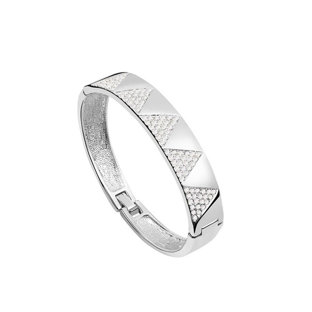 Swarovski - Bangle Bracelet made with Crystal Swarovski Elements White