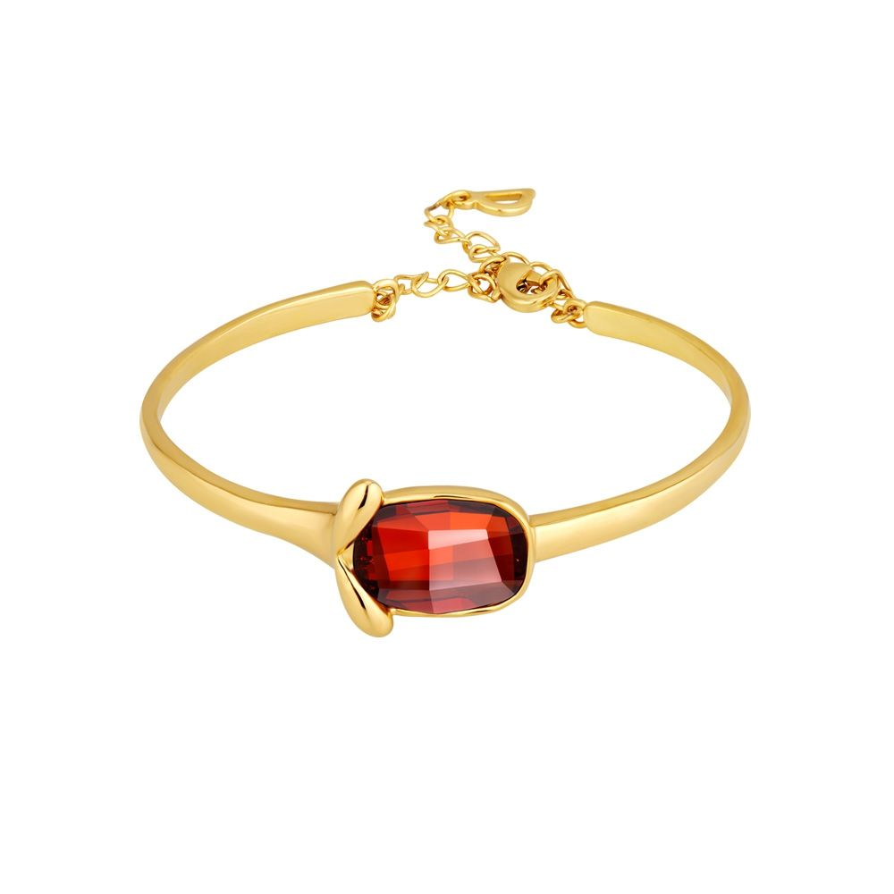 Swarovski - Red Swarovski Crystal Elements Bangle Bracelet and Yellow Gold Plated