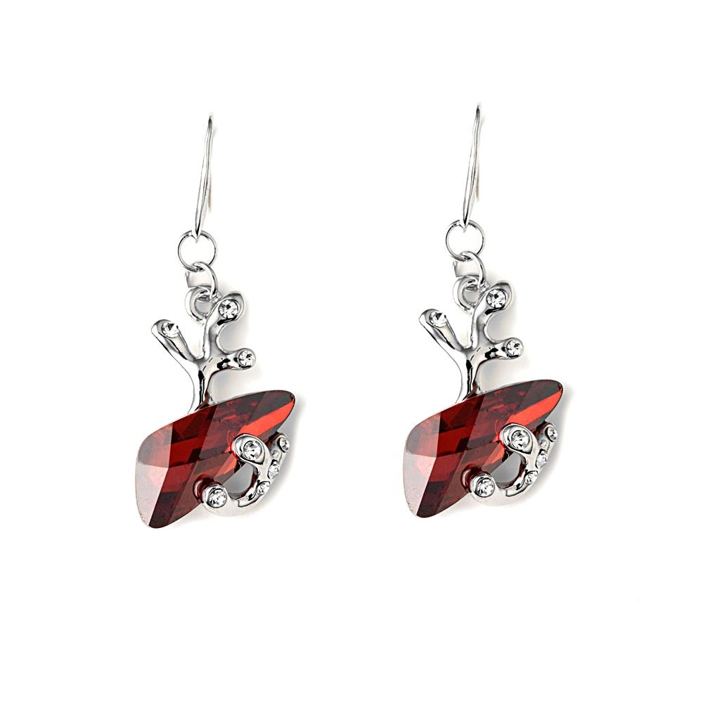 Swarovski - Red Swarovski Crystal Elements Earrings and Rhodium Plated