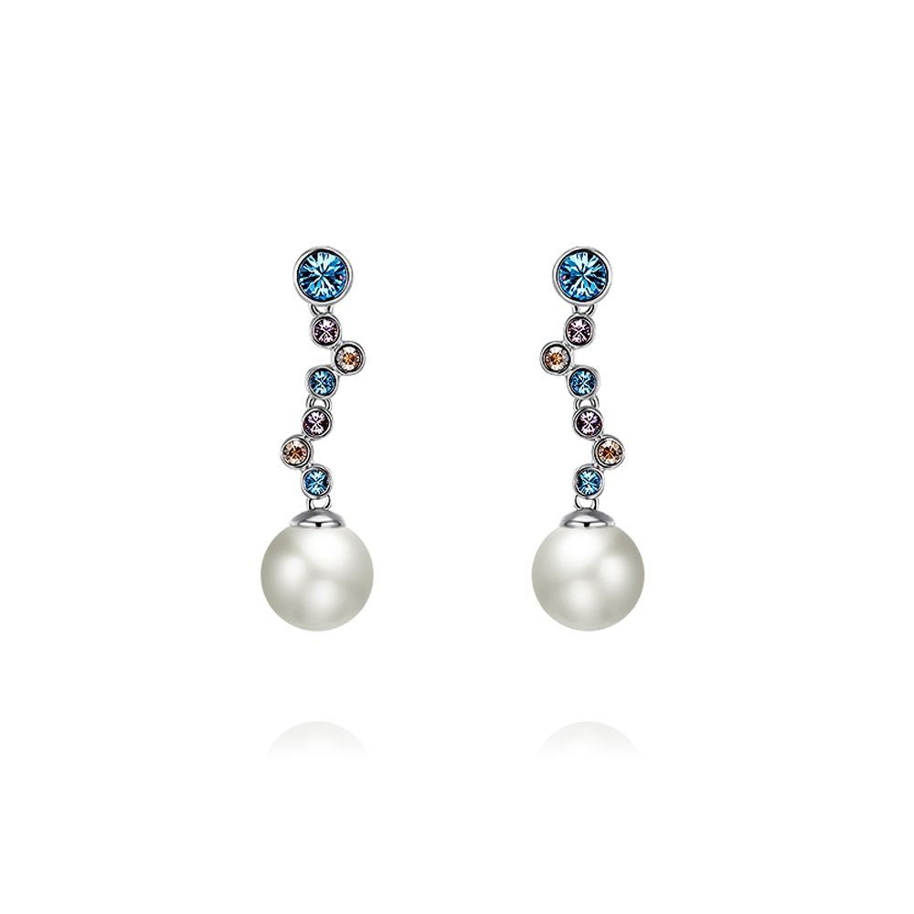 Swarovski - White Pearl and Swarovski Crystal Elements Waterfall Blue Earrings and Rhodium Plated