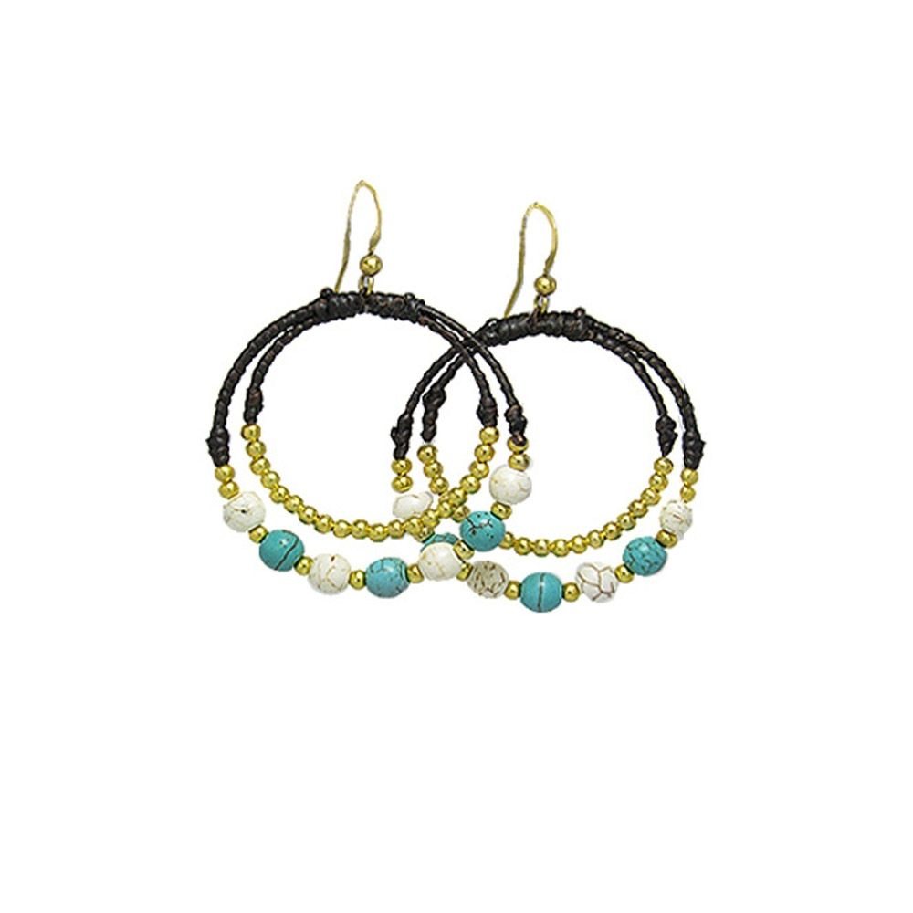 Turquoise and White Pearl Hoop Earrings