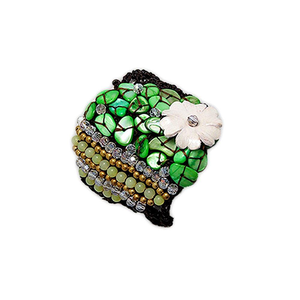 Green Pearl and Jade Flower Bracelet