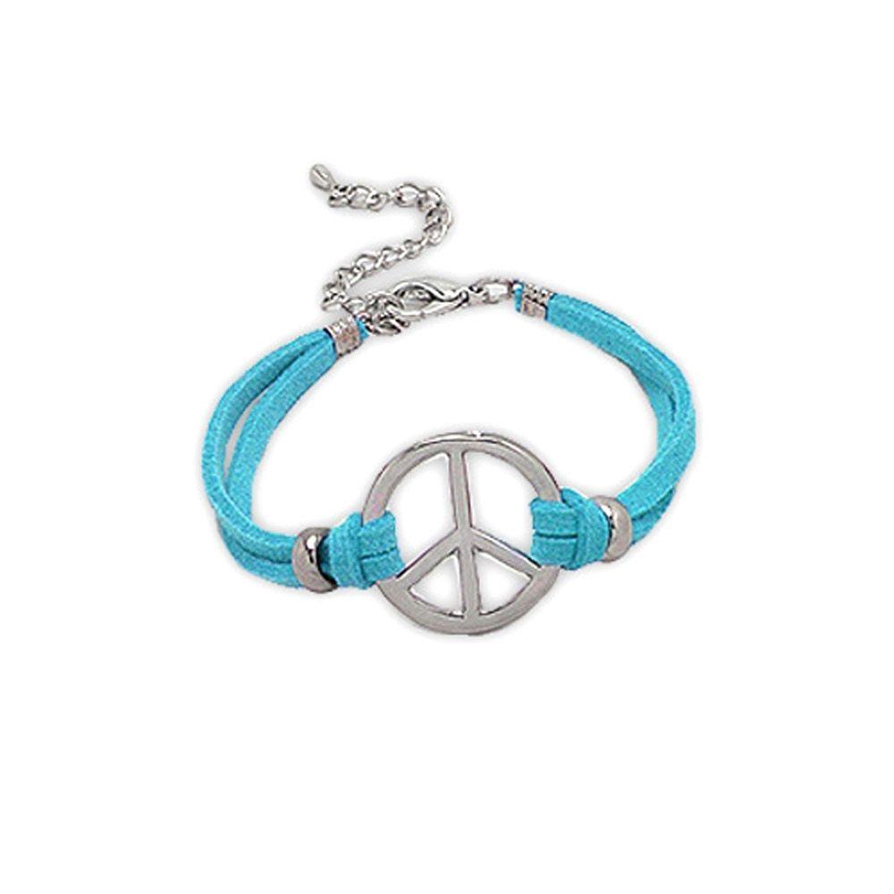 Blue Suedin Peace and Love Bracelet