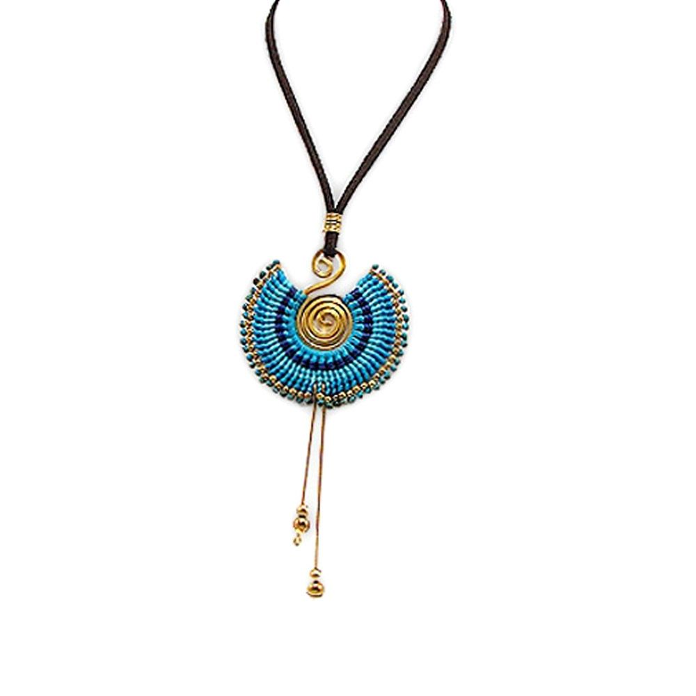 Blue Pearls and Gold Metal Spiral Necklace