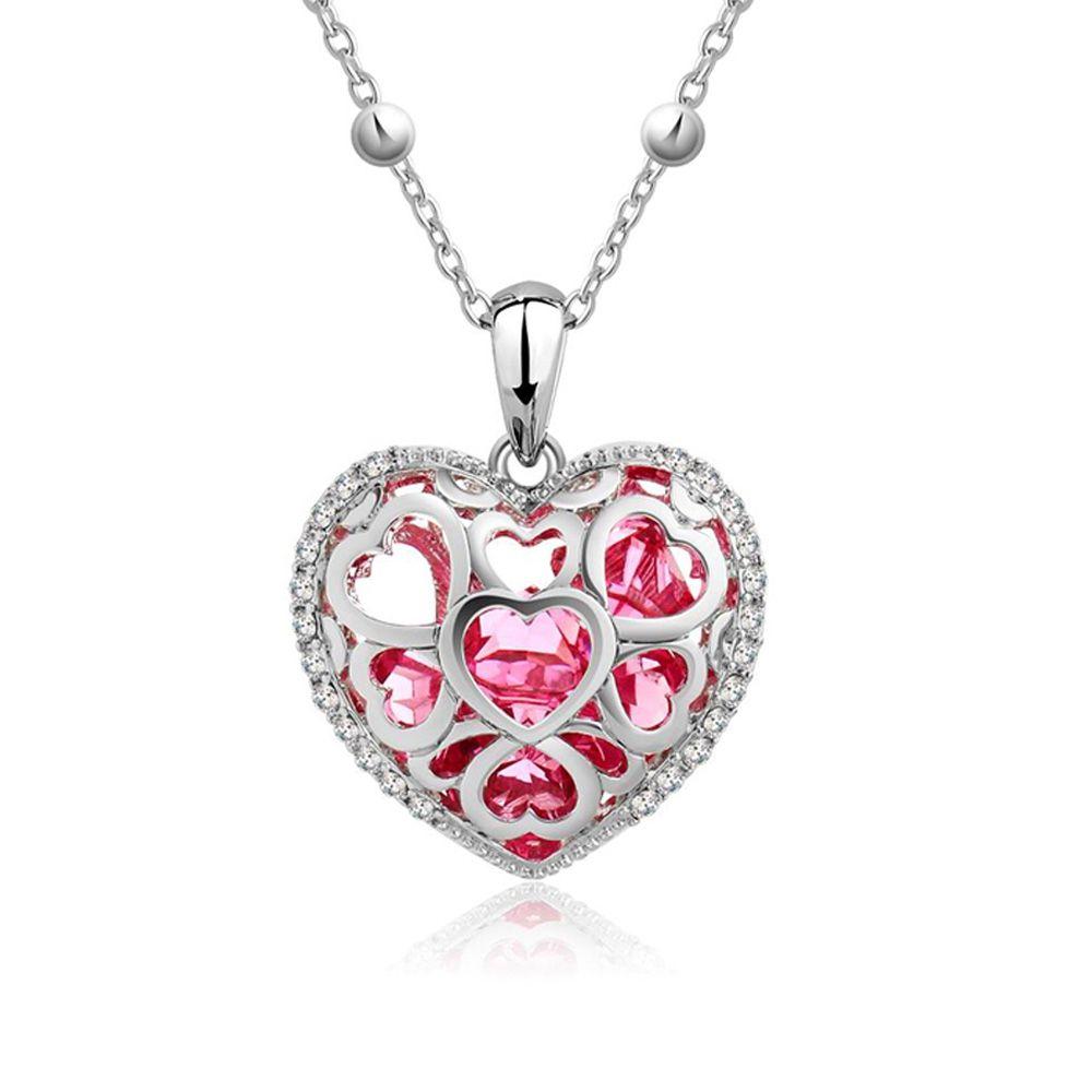 Swarovski - Pink Swarovski Crystal Elements Heart Pendant and Rhodium Plated